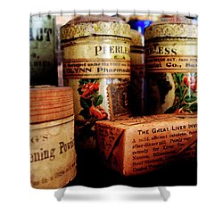 Shower Curtain featuring the photograph Doctor - Liver Pills In General Store by Susan Savad