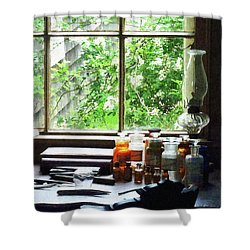 Shower Curtain featuring the photograph Doctor - Medicine And Hurricane Lamp by Susan Savad