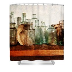 Doctor - Row Of Medicine Bottles Shower Curtain by Susan Savad