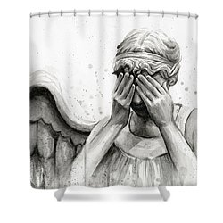 Doctor Who Weeping Angel Don't Blink Shower Curtain