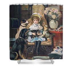 Doddy And Her Pets Shower Curtain by Charles Trevor Grand