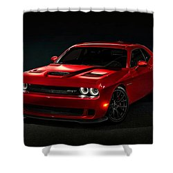 Dodge Challenger S R T Hellcat Shower Curtain by Movie Poster Prints