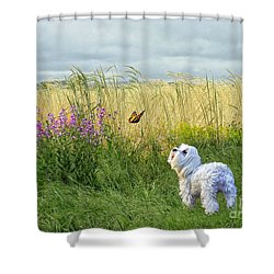 Dog And Butterfly Shower Curtain