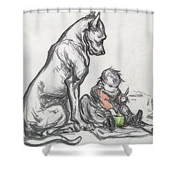 Dog And Child Shower Curtain by Robert Noir