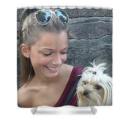 Shower Curtain featuring the photograph Dog And True Friendship 4 by Teo SITCHET-KANDA
