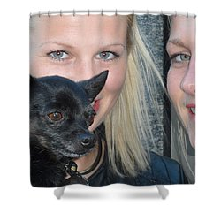 Shower Curtain featuring the photograph Dog And True Friendship 6 by Teo SITCHET-KANDA