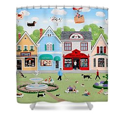 Dog Lovers' Lane Shower Curtain by Wilfrido Limvalencia