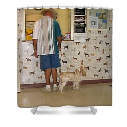 Dog Owner Dog Vet's Office Casa Grande Arizona 2004 Shower Curtain by David Lee Guss