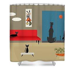 Dog Spies Alien Shower Curtain