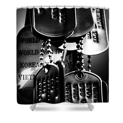 Shower Curtain featuring the photograph Dog Tags From War by Steven Santamour