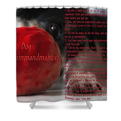 Dog Ten Commandments Shower Curtain by Stelios Kleanthous