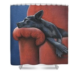 Shower Curtain featuring the drawing Dog Tired by Cynthia House