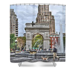 Dog Walking At Washington Square Park Shower Curtain by Randy Aveille