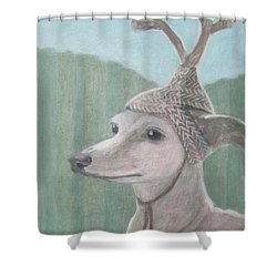 Dog With Antlers Shower Curtain