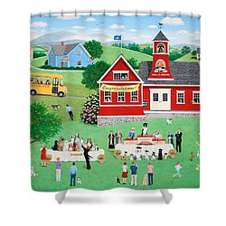 Doggie Graduation Day Shower Curtain by Wilfrido Limvalencia