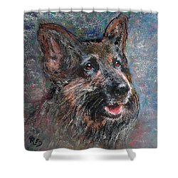 Shower Curtain featuring the painting Doggy Dreams by Richard James Digance