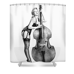Shower Curtain featuring the photograph Doghouse With Mosh - String Bass Baby   by Gary Heller