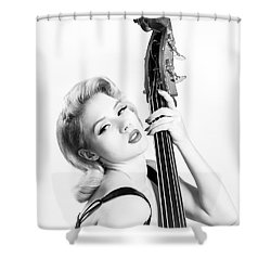 Doghouse Portrait Of Mosh - Double Bass Shower Curtain by Gary Heller