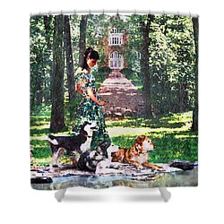 Dogs Lay At Her Feet Shower Curtain by Steve Karol