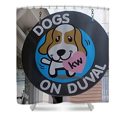 Dogs On Duval Shower Curtain by Fiona Kennard