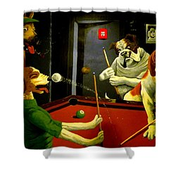 Dogs Playing Pool Wall Art Unknown Painter Shower Curtain