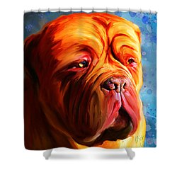 Vibrant Dogue De Bordeaux Painting On Blue Shower Curtain by Michelle Wrighton