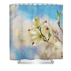 Dogwood Against Blue Sky Shower Curtain by Lois Bryan