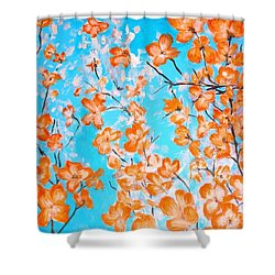 Shower Curtain featuring the painting Dogwoods by Donna Dixon