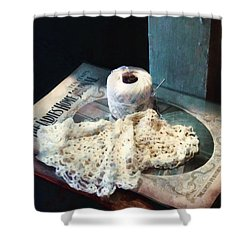 Doily And Crochet Thread Shower Curtain