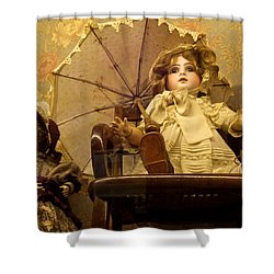 Antique Doll In Chair With Parasol Shower Curtain