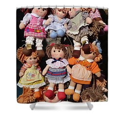 Shower Curtain featuring the photograph Dolls by Marcia Socolik