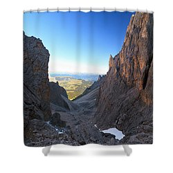 Shower Curtain featuring the photograph Dolomites At Morning by Antonio Scarpi