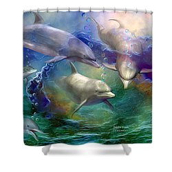 Shower Curtain featuring the mixed media Dolphin Dream by Carol Cavalaris