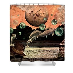 Shower Curtain featuring the mixed media Dolphin Dreams by Ally  White