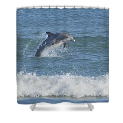 Shower Curtain featuring the photograph Dolphin In Surf II by Bradford Martin