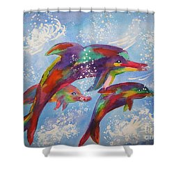 Shower Curtain featuring the painting Dolphin Playjourney by Ellen Levinson