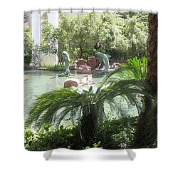 Shower Curtain featuring the photograph Dolphin Pond And Garden Green by Navin Joshi