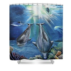 Dolphins Playing Shower Curtain by Thomas J Herring