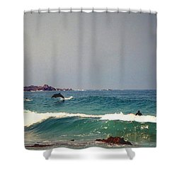 Dolphins Swimming With The Surfers At Asilomar State Beach  Shower Curtain by Joyce Dickens