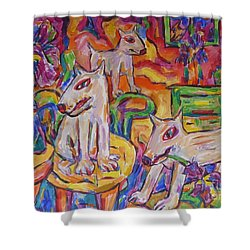 Domesticated Wolves In Dutch Iris Room Shower Curtain by Dianne  Connolly