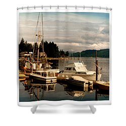 Domino At Alderbrook On Hood Canal Shower Curtain by Jack Pumphrey