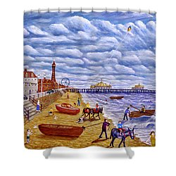 Donkey Rides On Blackpool Beach Shower Curtain by Ronald Haber