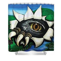 Don't Feed The Dinosaur Shower Curtain by Dani Abbott