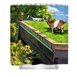Door County Al Johnsons Swedish Restaurant Goats Shower Curtain by Christopher Arndt