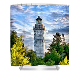 Door County Cana Island Beacon Shower Curtain by Christopher Arndt