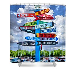 Door County Directional Sign In Egg Harbor Shower Curtain by Christopher Arndt