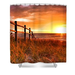 Door County Europe Bay Fence Sunrise Shower Curtain by Christopher Arndt