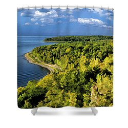 Door County Peninsula State Park Svens Bluff Overlook Shower Curtain by Christopher Arndt
