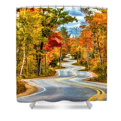 Door County Road To Northport In Autumn Shower Curtain by Christopher Arndt
