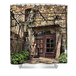 Shower Curtain featuring the photograph Door Montepulciano Italy by Hugh Smith